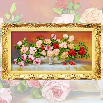 Ribbon Embroidery kit Flowers Picture Rose ,  C-0094
