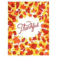 Thankful Fallen Leaves Thanksgiving Greeting Card