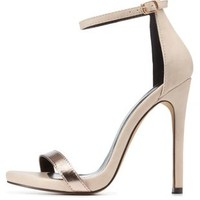 Nude Single Strap Metallic High Heels by Charlotte Russe