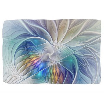 Floral Fantasy, abstract and modern Fractal Art Kitchen Towel