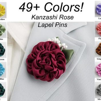 Kanzashi Rose Ribbon Flower Lapel Pin in 49 Colors Choose Your Color Ribbonwork Flower Groom Boutonniere Brooch Wedding Favors Ribbon Rose