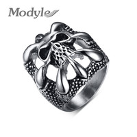 MEN's Flower Stainless Steel Biker Ring