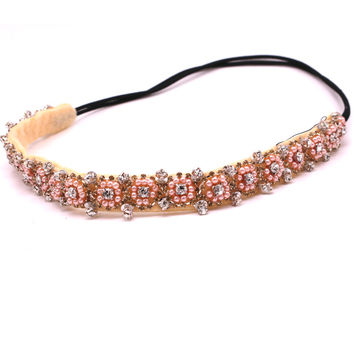 Vintage bohemian ethnic tribal pink seed beads flower with sequin