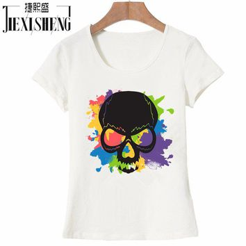 Cool watercolor Skulls Printed T-Shirt Short Sleeve