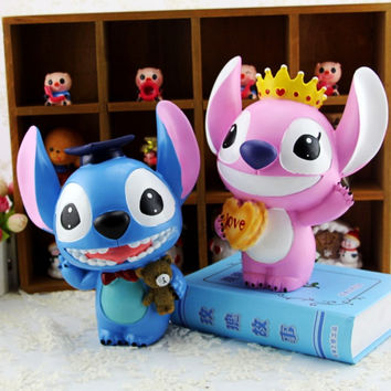Cartoon Lilo Stitch doll Super cute Decoration Resin piggy bank Personality money box XY8008 graduation&birthday gift,1pairs