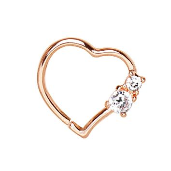 Annealed Rose Gold Plated Jeweled Heart WildKlass Cartilage Earring