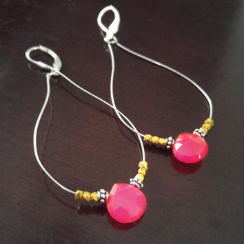 Pink chalcedony stone earrings, sterling silver earrings, pink drop earrings, gold vermeil, hot pink chalcedony dangle earrings, sexy boho