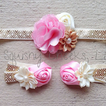 Shabby Chic Baby Barefoot Sandals Headband Set - Pink and Gold Piggy Petals - Vintage Chic Headband - purchase individually or as a set