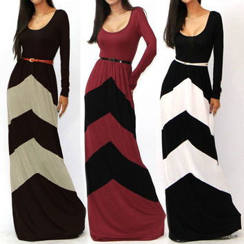 2016 New Fashion Women Sexy Geometric striped Color Block long sleeve Maxi Full Dress Sundress Cocktail Evening Dresses Free Belt【S-XXL 2XL】 = 4756832964