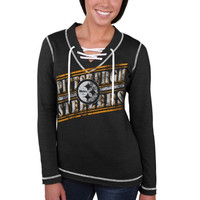 Pittsburgh Steelers Majestic Women's Overtime Queen V-Neck Pullover Sweatshirt – Charcoal
