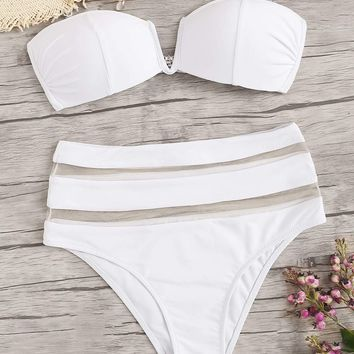 Seam Bandeau With Mesh Panel High Waist Bikini