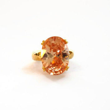 Vintage Pink Glass Stone Gold Tone Ring, Cocktail Ring