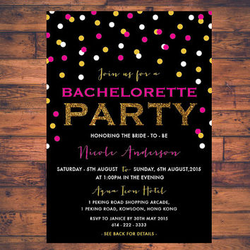 Bachelorette Party Hen Party Girls Night Out Confetti Invitation Card Digital Print Printable Modern Minimal Fun Invite Card