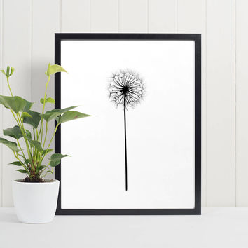 Dandelion Poster, Make a wish, Dandelion Wall Art, Digital Download, Instant download, Black and white, Scandinavian Poster, 4 sizes