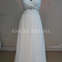 Beading Open back Ivory Silk Chiffon wedding dress Bridal gowns