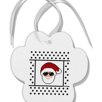 Cool Santa Christmas Sweater Paw Print Shaped Ornament