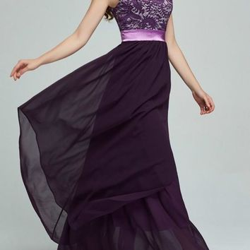 Purple Patchwork Lace Irregular Draped Chiffon Wedding Gowns High Waisted Maxi Dress