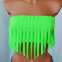 Neon Green Fringe Spandex Bra Top Bikini Top Neon Fringes Sexy Bandeau Beach Wear Beach Bra Swimsuit Spandex Fringe Tops Bathing Suits Top