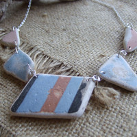 Scottish sea pottery necklace... sea pottery necklace in dusty pink, light blue and black 18'' length & sterling chain, sea pottery necklace