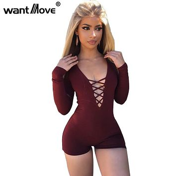 Wantmove 5 Colors 2018 Summer Rompers Womens Jumpsuit Sexy Front Lace Up Bodycon Short Jumpsuit Bodysuit Slim Romper XD955