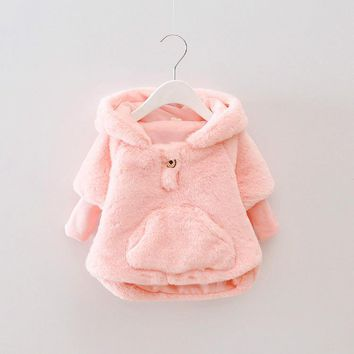fake fur baby girls jacket autumn winter infant girls clothes 1 year birthday girls outfits kids christening costume for girls