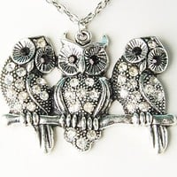 Alloy Tone Owl Perched Trio Group Band Cute Pendant Necklace