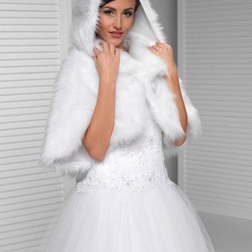 DCK9M2 2016 Custom made wedding faux fur white Bridal shawl wrap stole shrug bolero Winter wedding jacket