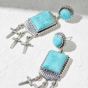 Free People Kingman Turquoise Cross Earrings