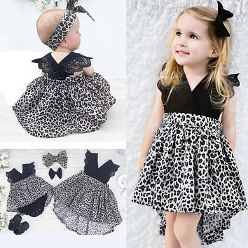 Summer Kids Baby Girls Clothintg Dress Princess Pageant Wedding Party Lace Short Sleeve V Neck Dresses Headband Girl