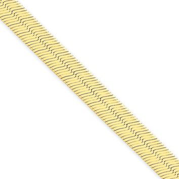 6.5mm, 14k Yellow Gold, Solid Herringbone Chain Necklace, 18 Inch
