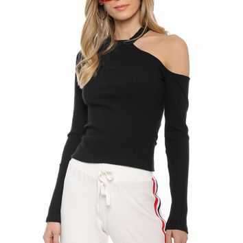 Jac Parker Ribbed Cut Out Shoulder Top