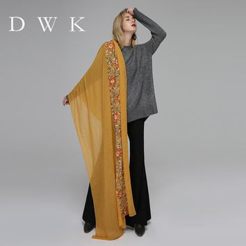 DWK  lady foulard embroidered scarf shawl for women from india shawl scarves winter pashmina cotton voile scarf luxury brand 201
