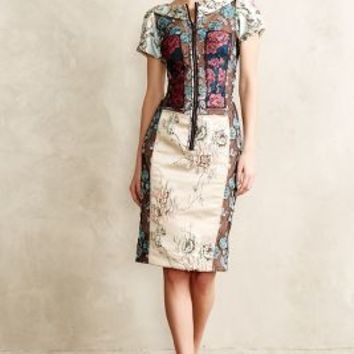 Byron Lars Pieced Brocade Dress in Blue Motif Size: