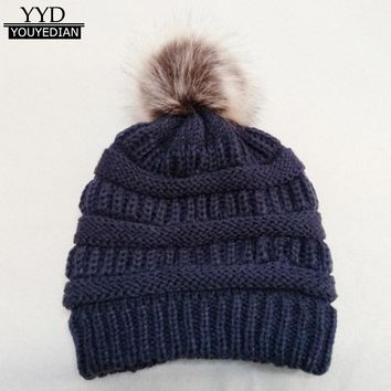 2018 New Fashion Hats Women Winter Warm Cashmere Knitted Crochet Faux Fur Pom Pom Beanies Women Hat Cap Gorras Mujer *1212