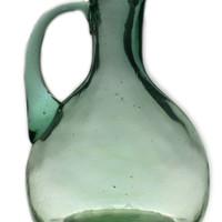 Green Blown Glass Wine Jug, Vintage Continental European
