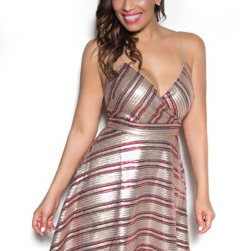 Spaghetti Strap Fit-and-Flare Sequined Dress In Taupe Wine