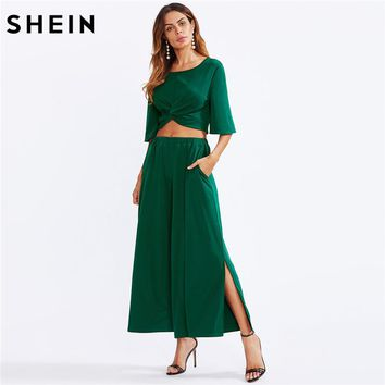 SHEIN Two Piece Set Green Twist Front Half Sleeve Crop Top With Slit Palazzo Pants Set Party Womens Sets Two Piece