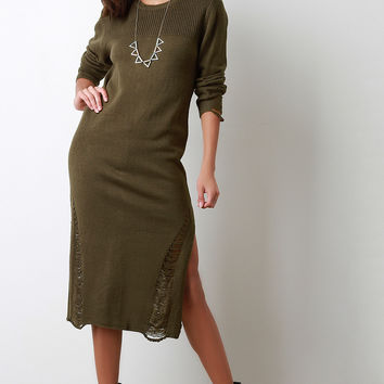Distressed Relaxed Sweater Midi Dress