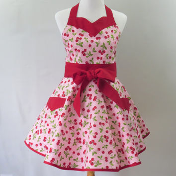 Womens Cherries Apron, Pink and Red, Full Retro Circle Skirt, Sweetheart Neck, Bridal Shower, Birthday, Mothers Day Gift for Her