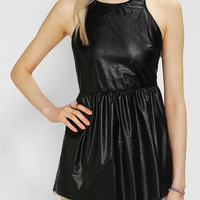 Sparkle & Fade Faux Leather Peplum Tank Top
