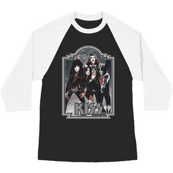 KISS Men's  Glitter '76 Baseball Jersey Black/White