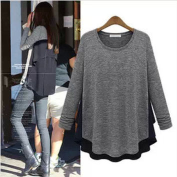Winter Plus Size Women's Fashion Tops Long Sleeve T-shirts [4962087236]