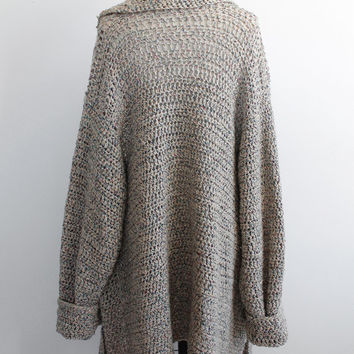 Vintage 80s Slouchy Knit Oversized Sweater Duster | fits most