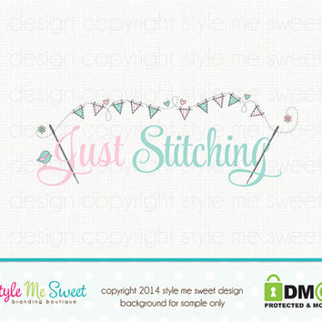 Custom Premade Logo Design - Sewing Logo Bunting Logo Bird Logo Boutique Logo Design Hand Drawn