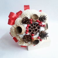Cream rustic wedding BOUQUET Cream Flowers, pine cones, bell cup,cotton, red balls, winter wedding, sola roses, winter wonderland
