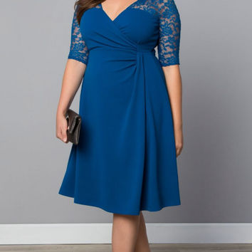Plus Size Lace Sleeves Twist Front Long Skater Dress