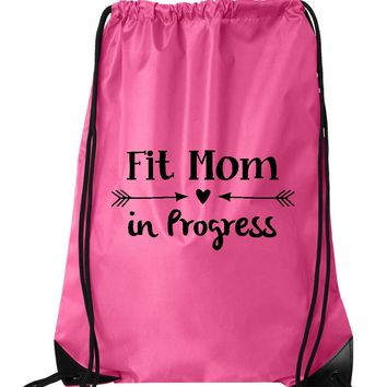 "Drawstring Gym Bag  ""Fit mom in Progress""  Funny Workout Squatting Gift"