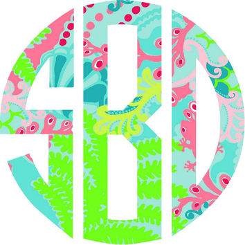 Lilly Pulitzer Circle Monogram Iron on decal