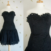 1980's Strapless Black Lace Dress / Drop Waist / Scalloped Lace Trim / Crinoline / Small / Vintage 80s