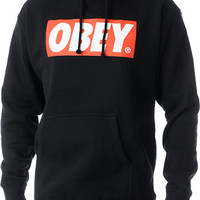 Obey Box Logo Black Pullover Hoodie